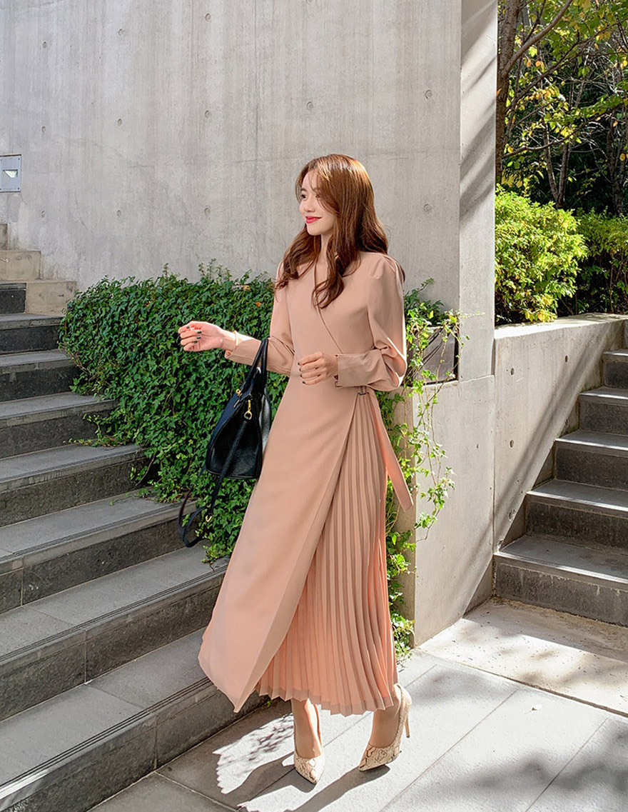 달리호텔 / Wrap Hidden Pleated Maxi Dress