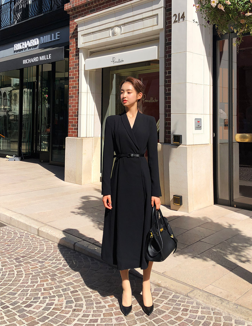 달리호텔 / Hera Shawl Collar Jacket Dress BLACK