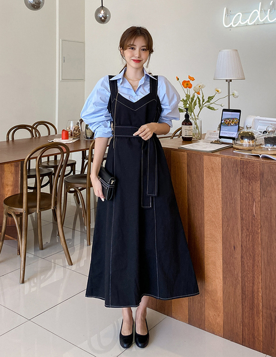 달리호텔 / Stitch Line Belted Maxi Dress