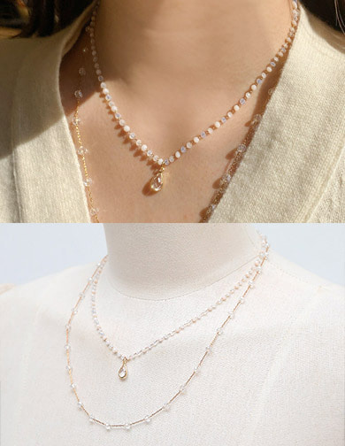달리호텔 / Two Layered Dazzling Chain Necklace_H62664