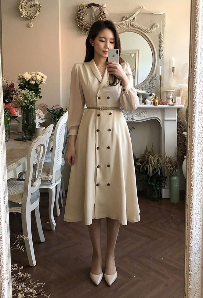 달리호텔 / Lady Shawl Collar Double Button Dress