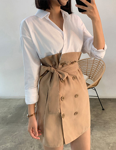 달리호텔 / Shirt Layered Trench Dress