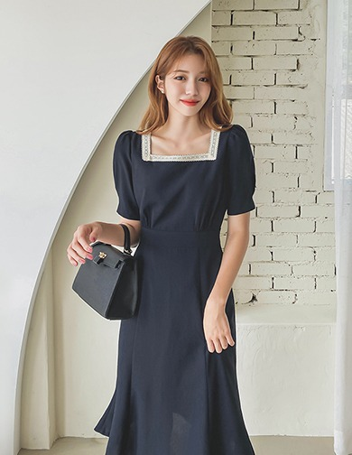 달리호텔 / Lace Square Neck Dress_H65598