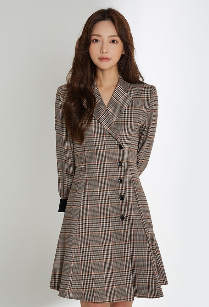 달리호텔 / Side Button Checked Jacket Dress_H65979